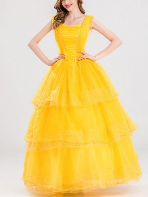 Halloween Yellow Princess Dress Beauty and the Beast Belle Princess Cospaly Costume