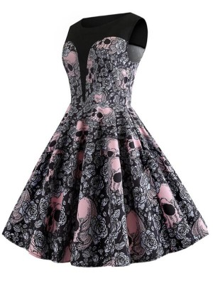 Fashion Round Neck Sleeveless Skull Print Halloween Dress