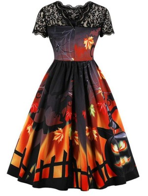 Vintage Hepburn Style Lace Stitching Short Sleeve Halloween Dress