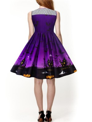 Fashion Round Neck Sleeveless Plus Size Halloween Dress