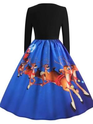 Vintage Round Neck Long Sleeve Elk Print Christmas Dress
