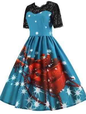 Vintage Short Sleeve Santa Sleigh And Reindeer Print Christmas Dress