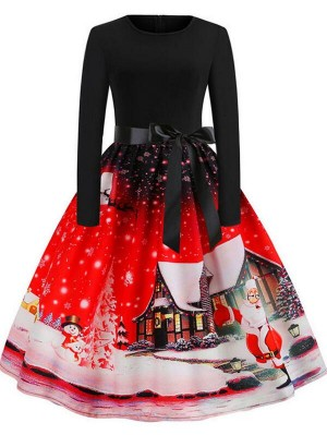 Vintage Round Neck Long Sleeve Santa Print Christmas Dress