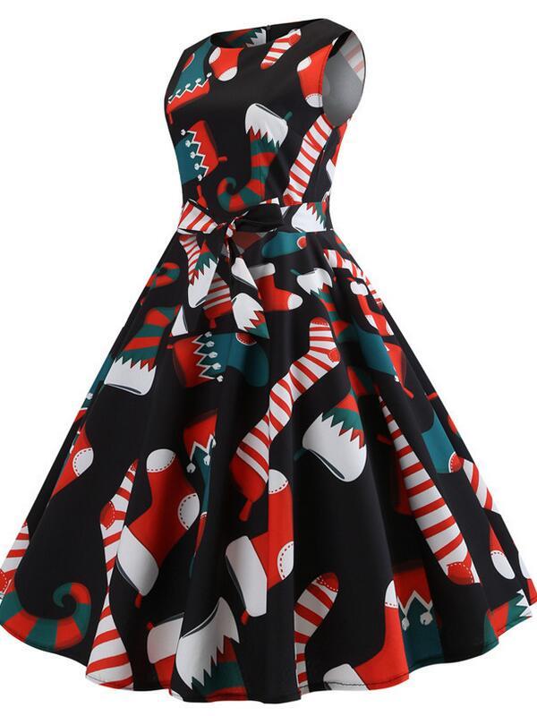 Vintage Sleeveless Christmas Socks Print Christmas Dress With Belt