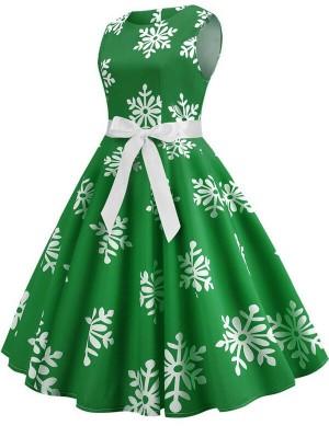 Vintage Round Neck Sleeveless Snowflake Print Christmas Dress