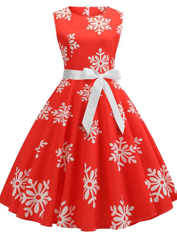 Vintage Round Neck Sleeveless Snowflake Print Christmas Dress