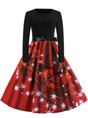 Vintage Round Neck Long Sleeve Santa Sleigh And Reindeer Print Christmas Dress