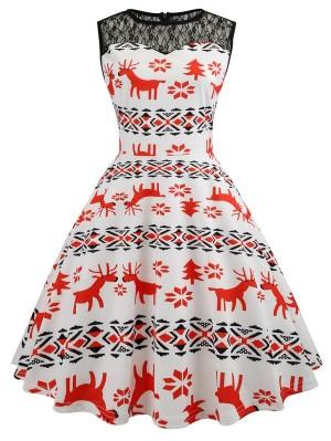 Vintage Round Neck Sleeveless Mesh Elk Print Christmas Dress
