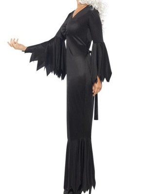 Fashion V-Neck Solid Flare Sleeve Black Halloween Dress With Belted