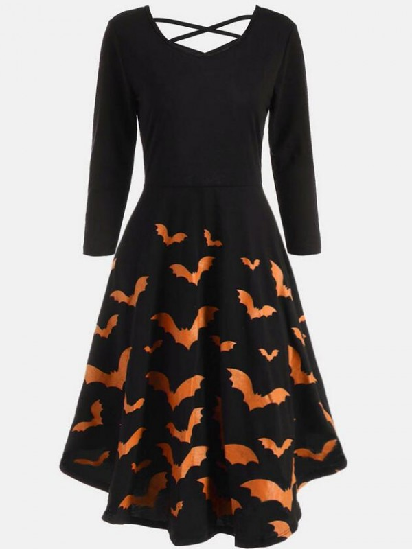 Fashion Scoop Neck Long Sleeve Halloween Dress
