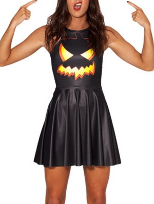 Fashion Round Neck Sleeveless Pumpkin Print Halloween Dress