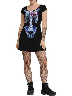 Fashion Scoop Neck Short Sleeve Halloween Dress