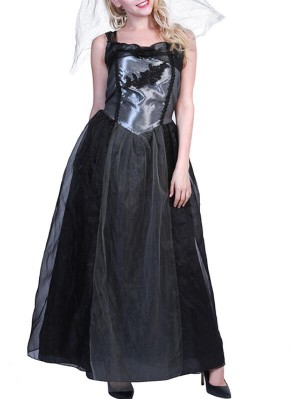 Fashion Square Neck Sleeveless Black Wedding Bride Halloween Dress