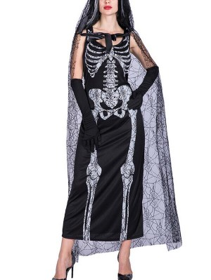 Fashion Scoop Neck Skeleton Ghost Bridal Halloween Dress WIth Gloves