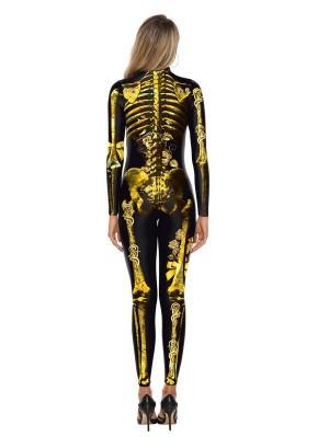 Women's 3D Skull Print Halloween Jumpsuit