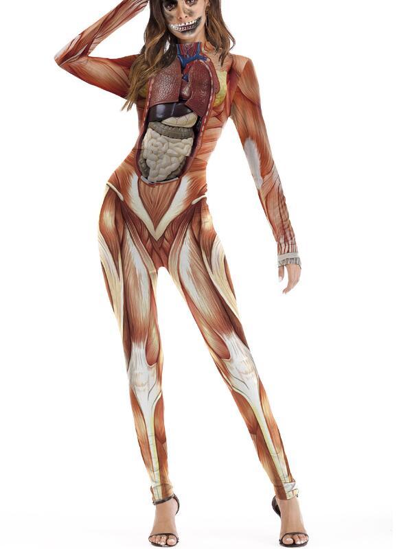 Women's Human body Structure Print Long Sleeve Halloween Jumpsuit