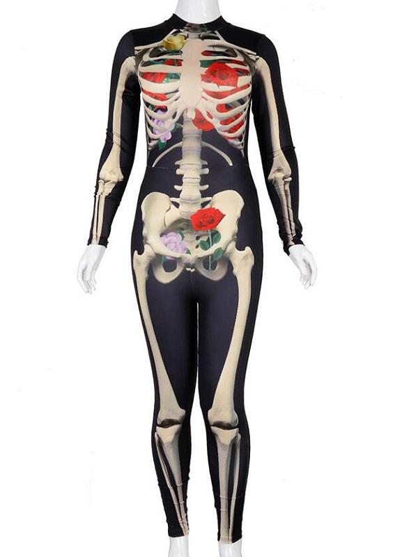 Women's Skull Print Long Sleeve Halloween Jumpsuit