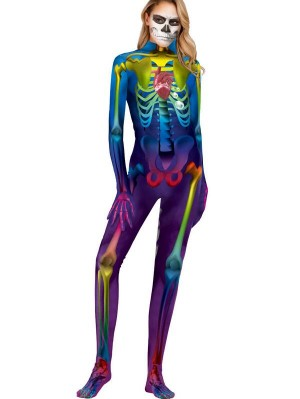 Women's 3D Skull Cosplay Halloween Jumpsuit