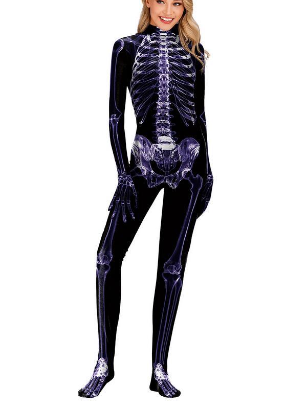 Women's 3D Skull Cosplay Halloween Jumpsuit