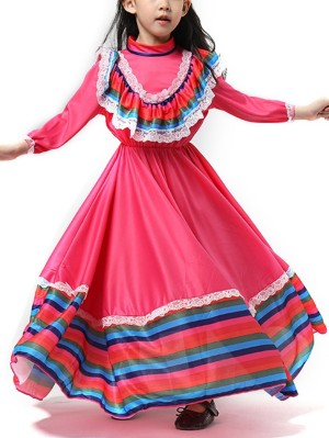 Girls Mexican Ethnic Dance Dress Day Of The Dead Costume For Child