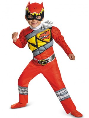 Child Red Dino Charge Ranger Costume Children's Superhero Cosplay Costume