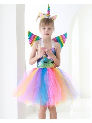 Girls' Sequin Dress Children's Unicorn Dress With Wing Horn
