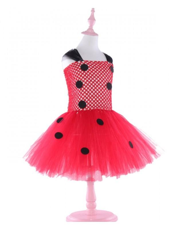 Girls' Polka Dot Tutu Dress Children's Ladybug Dress