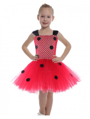Girls' Polka Dot Tutu Dress Children's Ladybug Dress