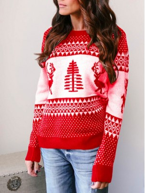 Vintage Round Neck Long Sleeve Snowflake Elk Pattern Christmas Sweater
