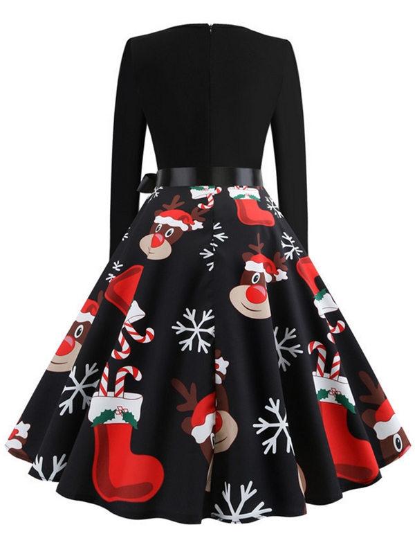 Vintage Round Neck Long Sleeve Santa Claus Elk Print Christmas Dress