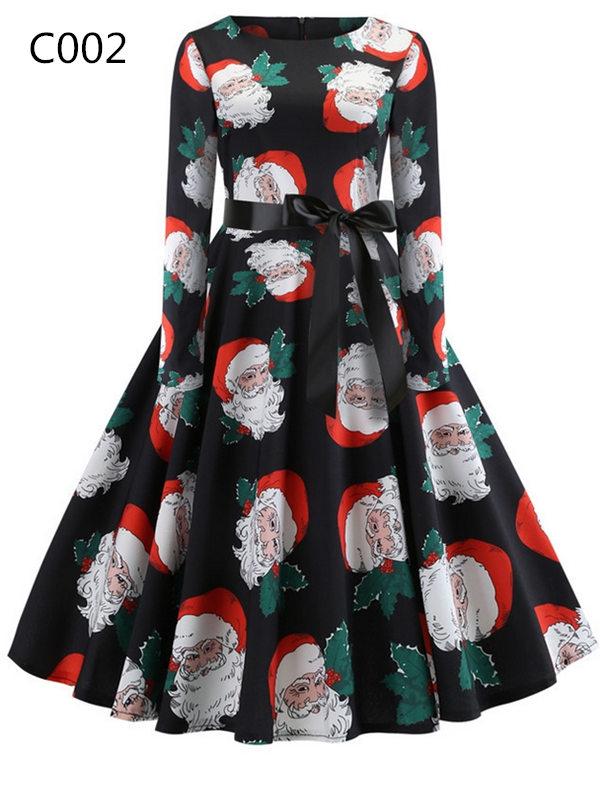 Christmas Print Vintage Round Neck Long Sleeve Dress With Belt