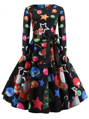 Christmas Print Vintage Round Neck Long Sleeve Dress With Belt