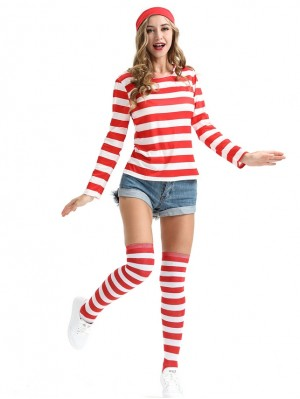 Men and Women Where's Wally Cosplay Costume Stripe Christmas Suit