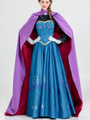 Disney Frozen Princess Anna Cosplay Costume Halloween Cloak Princess Dress