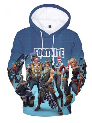 Casual Long Sleeve Fortnite Characters Print Hoodie