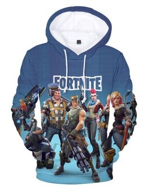Casual Long Sleeve Fortnite Characters Print Hoodie