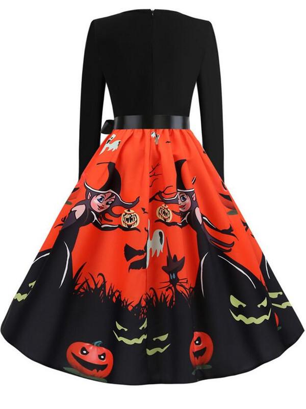 Fashion Pumpkin Print Long Sleeve Halloween Dress With Belt