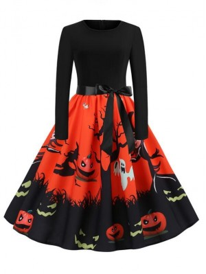Fashion Pumpkin Print Long Sleeve Halloween Dress With Belt