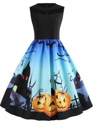 Fashion Pumpkin Cat Print Sleeveless Halloween Dress