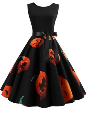 Fashion Devil Pumpkin Print Sleeveless Halloween Dress With Belt