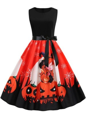 Fashion Round Neck Sleeveless Halloween Dress With Belt