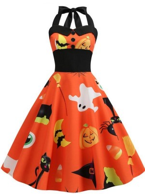Sexy Halter Sleeveless Print Halloween Dress
