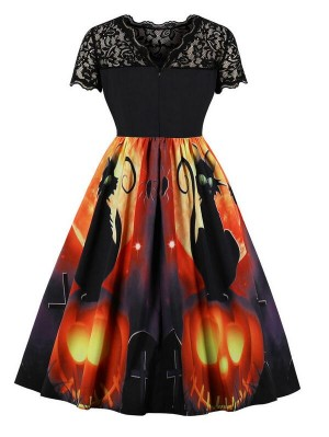 Vintage Hepburn Style Short Sleeve Cat Print Halloween Dress