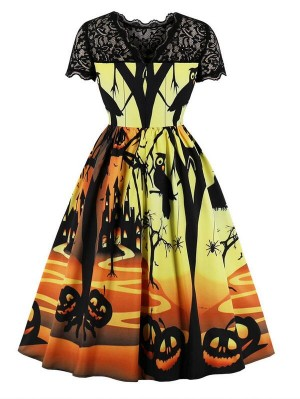 Vintage Hepburn Style Short Sleeve Halloween Dress