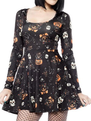 Sexy Vampire Cat Print Long Sleeve Halloween Dress