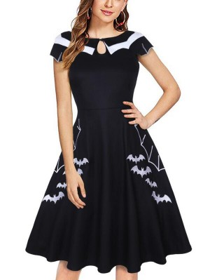 Vintage Round Neck Short Sleeve Plus Size Halloween Dress