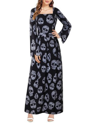 Fashion Square Neck Long Sleeve Skull Print Halloween Dress