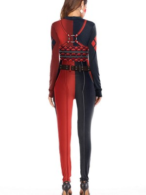 Women's 3D Harley Quinn Print Jumpsuit Cosplay Costume