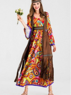 Halloween Retro 70s Disco Hippie Cosplay Costume