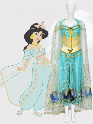 Aladin Princess Jasmine Cosplay Costume With Cloak
